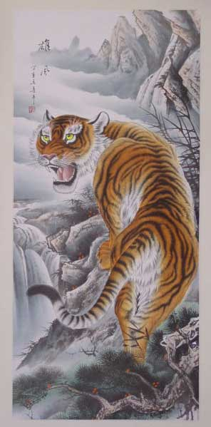 拡大写真です。虎の掛け軸 高級美術印刷 雲上の猛虎 中国高級掛け軸専門ショップ【蘇州山水堂】