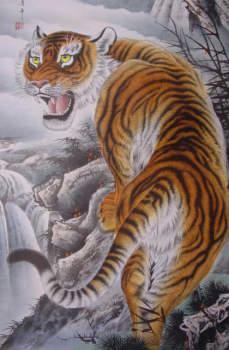 虎のみの拡大写真 迫力満点です!虎の掛け軸 高級美術印刷 雲上の猛虎 中国高級掛け軸専門ショップ【蘇州山水堂】