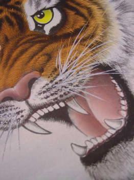 鋭い牙を剥き出しにして威嚇します。虎の掛け軸 高級美術印刷 雲上の猛虎 中国高級掛け軸専門ショップ【蘇州山水堂】