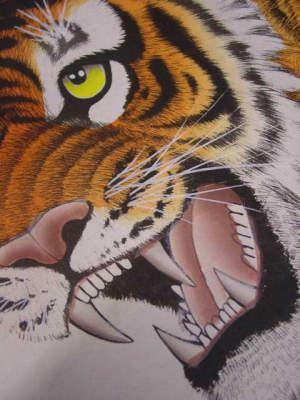 虎の掛け軸 高級美術印刷 月下の虎 掛け軸の絵とわかっていても怖いですね。