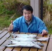 小さいころ(幼稚園位)からの趣味です。サワラと小さな鯛、アジをゲットしたときのものです。最近は船で釣りをすることもあります。