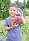 家庭菜園でとれた大きなイモを持ってピースする長男YOSHIKI君。アウトドア派でとっても元気。1年~3年まで無欠席。病気知らずです。